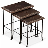 nesting tables embossed leather top