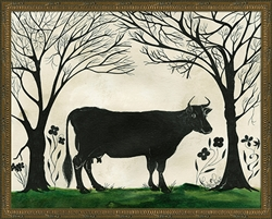 Animal Silhouette Cow Art Print (size options)