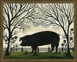Spicher & Company Animal Silhouette Pig Facing Left Art Print