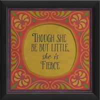 she is fierce pink yellow framed wall art