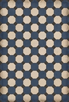 vinyl floor mat octagons navy black cream