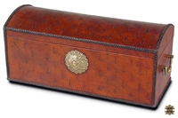 embossed reddish brown leather brass medallion box arched top antiqued hardware