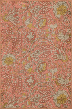 vinyl floor mat vintage flowers coral red orange