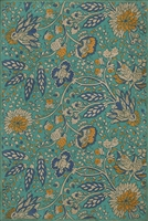 vinyl floor cloth vintage flowers teal orange blue