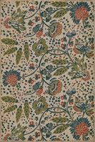 vinyl floor cloth vintage flowers cream blue red