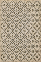 vinyl floor mat flower tile pattern tan yellow