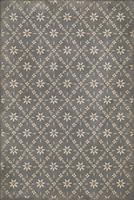 vinyl floor mat flower tile pattern tan gray