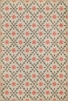 vinyl floor mat flower tile pattern tan orange