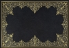 rectangle vinyl placemat black gold lace-like frame