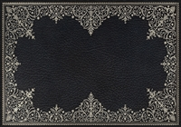rectangle vinyl placemat black silver lace-like frame