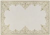 rectangle vinyl placemat ivory off-white gold lace-like frame