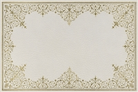 rectangle vinyl desk mat ivory off-white gold lace-like