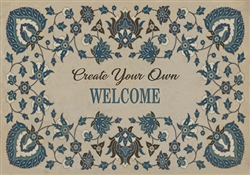 rectangle vinyl placemat blue floral off-white customizable