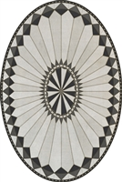 vinyl vintage floor mat medallion black cream oval
