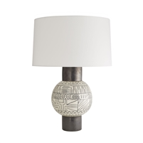 tribal table lamp off-white black pottery globe
