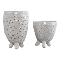 vases crackle ivory ceramic tripod base set