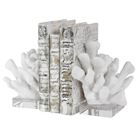 acrylic white coral book ends