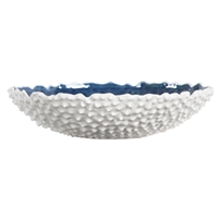 round white ceramic bowl blue