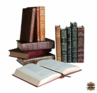 leather books colors assortment variety old stories bound embossed gold leaf
