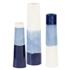 vases set blue navy white glazed