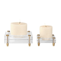 candle holders crystal block brass legs