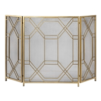 fireplace screen 3-panel mesh gold geometric