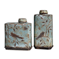 crackle blue ceramic containers set of two birds