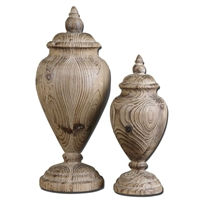 carved solid wood natural finials