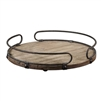 natural fir wood base tray metal rim