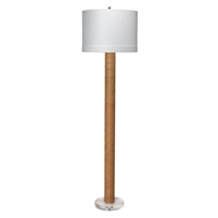 floor lamp cylinder jute acrylic base off-white linen drum shade