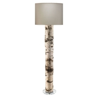 floor lamp birch bark linen shade acrylic base
