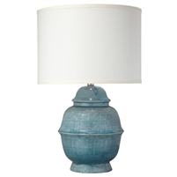 textured blue table lamp Asian influence off-white linen shade