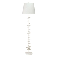 white texture petals floor lamp off-white linen shade sculptural