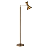floor lamp metal swivel hood brass mid-century contemporary