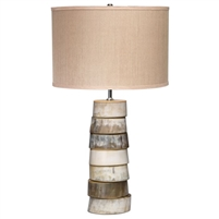 round faux horns stack table lamp hemp shade