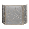 fireplace screen silver 3-panel mesh contemporary abstract metal