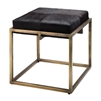 brass and espresso hide stool