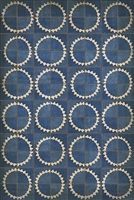 vinyl floor mat sunburst star tile pattern navy cream