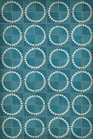 vinyl floor mat sunburst star tile pattern teal cream
