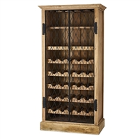 wood wine cabinet driftwood iron door