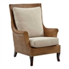 rattan wicker wing chair chestnut cushions cream color