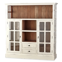 Bramble Cape Cod harvest white finish cupboard kitchen glass doors open shelving drawers wood white distressed farmhouse driftwood