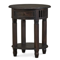 Bramble hollister brown side table mahogany drawer lower shelf