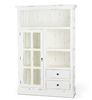 Bramble Cape Cod harvest white finish cupboard kitchen glass doors open shelving drawers wood white distressed farmhouse
