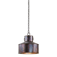 metal pendant one-light oxidized bronze