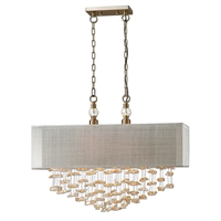 chandelier pendant beige shade champagne hanging crystal silver hardware rectangle