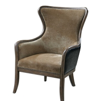 wingback chair tan velvet dark brown faux leather wood frame brass nailheads