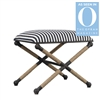 striped small bench rope wrapped legs white navy