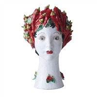ceramic head vase peppers red