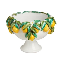 footed bowl lemons decor ceramic yellow green
